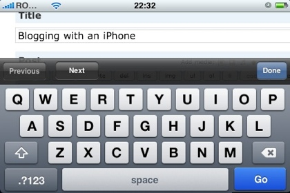 Blogging with an iPhone: add post title