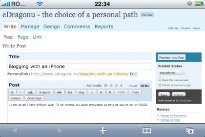 Blogging with an iPhone: add blog post