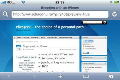 Blogging with an iPhone: preview blog post