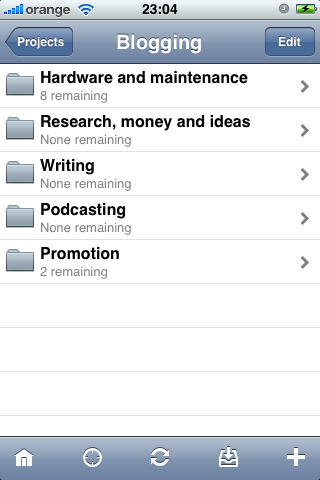 Blogging folder on OmniFocus for iPhone