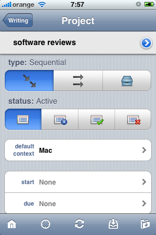 Editing a project in OmniFocus for iPhone