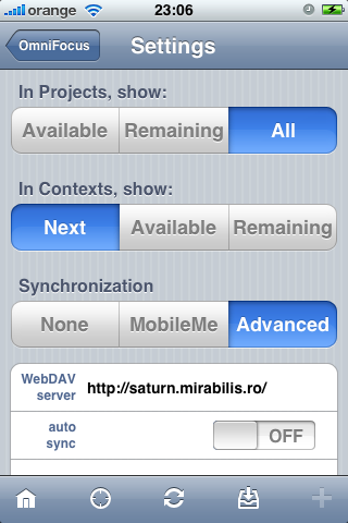 OmniFocus for iPhone settings