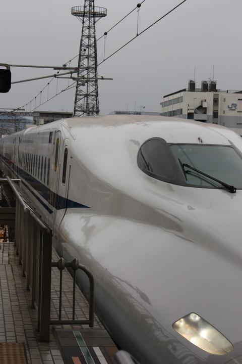 Nozomi Shinkansen entering Kyoto Train Station