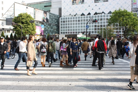 Shibuya crossroad - one of the busiest in Tokyo