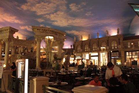 "Caesar's Palace Forums Shops with the incredible artifical ""sky"" over it."